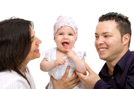 Close up portrait of young couple with their baby daughter Isolated on white Stock Photo - 14174477