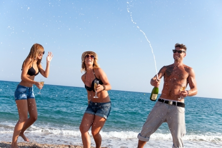 Friends having fun with champagne at celebration on beach, photo