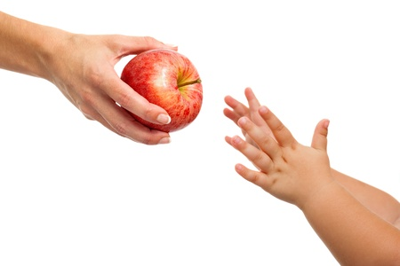 Close up of babies hands reaching out to apple.Isolated on white. photo