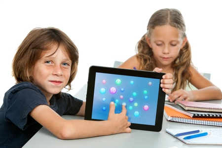 Close up portrait of cute maths student pointing at numbers on ditital tablet Stock Photo - 16254082
