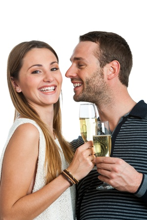 Close up portrait of happy couple making a toast with champagne.Isolated on white. photo