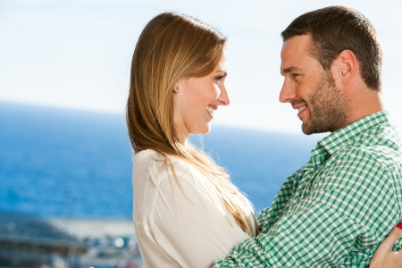 Close up portrait of young couple in love outdoors. Stock Photo - 17238282