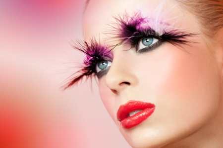 Macro close up portrait of female face with fantasy make up. Stock Photo - 18733877