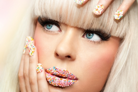 human fingernail: Extreme close up portrait of beauty fantasy make up. Stock Photo