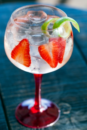 Close up of gin tonic cocktail with strawberries.