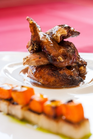 lacquered: Close up of roasted lacquered duck with sweet fruit cubes.