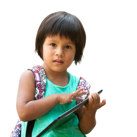 Portrait of cute native american girl holding tablet.Isolated on white.