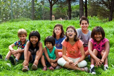 children playing together: Diversity outdoor group Portrait of new generation.