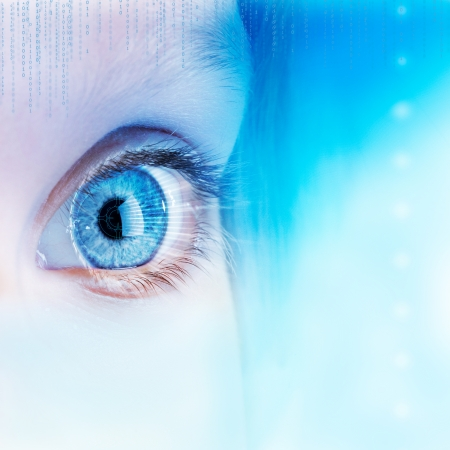 extreme close up: Extreme close up of human eye with futuristic interface.