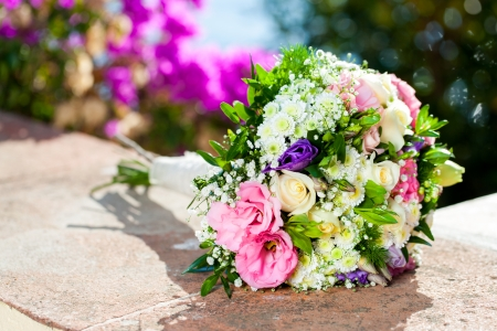 coloful: Close up of coloful flower bouquet outdoors