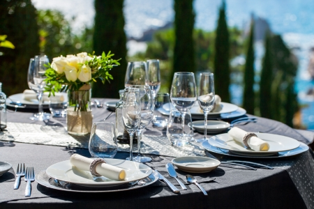 Close up detail of elegant served table outdoors  Stock Photo