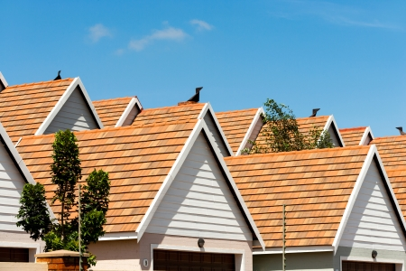 homeownership: Close up detail of town house rooftops against blue sky.