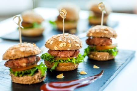 catering: Close up of mini hamburgers at catering event.