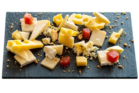 emmental: Close up of cheese platter. Isolated on white.