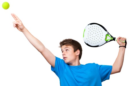 male tennis players: Close up portrait of teen paddle player.Isolated against white background.