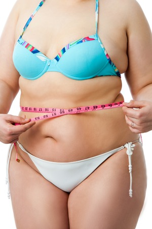 bloating: Detail of obese female body with measuring tape.