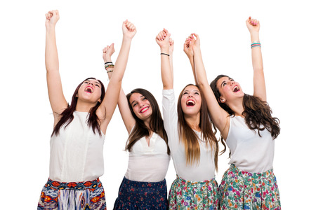 hands out: Portrait of Happy Teen Girls raising arms.Isolated on white background.