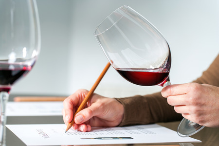 tasting: Extreme close up of sommelier evaluating red wine in wine glass at tasting. Stock Photo