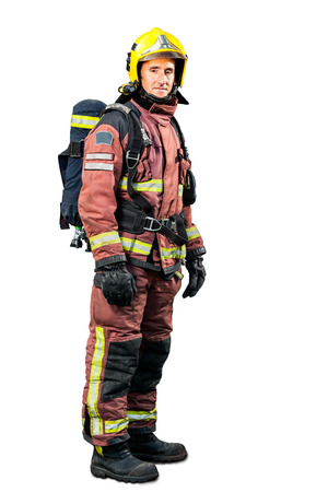 Full length portrait of Fireman in uniform isolated on white background.