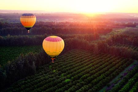 Twee hete lucht ballonnen vliegen over het platteland bij zonsopgang.
