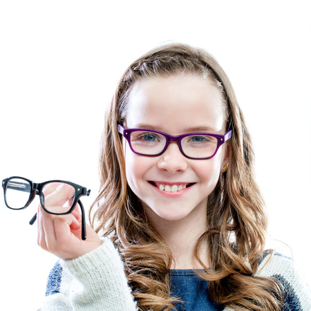 astigmatism: Girl holding glasses in hand.Isolated on white background.