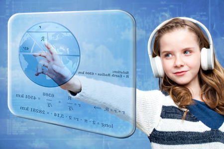 schoolkid: Close up portrait of young girl calculating earth radius on digital screen.Conceptual portrait of girl touching futuristic screen against blue background. Stock Photo