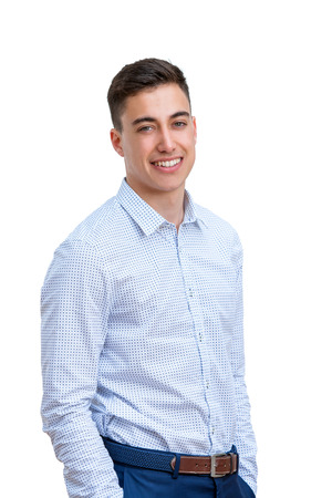 long sleeve: Close up portrait of Attractive young man in long sleeve shirt. Young business student Isolated on white background.