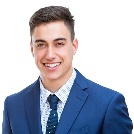 face shot: Close up portrait of Portrait of handsome young businessman in blue suit. Face shot Isolated on white background.