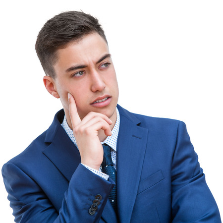 looking aside: Close up portrait of Young man in suit looking aside. Young wondering business student Isolated on white background.