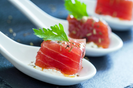 morsel: Extreme close up of appetizing tuna morsel on white ceramic spoon. Stock Photo