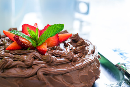 appetizing: Macro close up of appetizing brown chocolate cake with decorative strawberries. Stock Photo