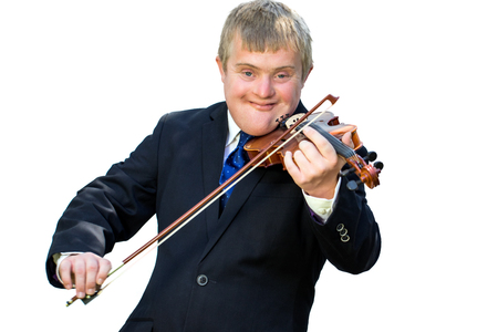 disadvantaged: Close up portrait of young man with down syndrome playing violin. Handicapped  boy in suit isolated against white background.