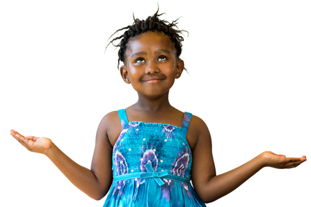 Close up portrait of little african girl looking up with arms open.Isolated on white background.