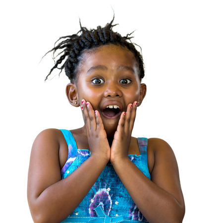 mouth close up: Close up portrait of surprised african kid with hand on face. Little girl with open mouth isolated on white background. Stock Photo