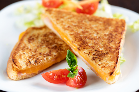 Macro close up of classic toasted ham and cheese sandwich.
