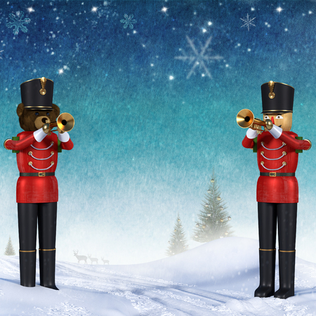 Fun 3D illustration of two toy soldiers in red uniform playing trumpets.Teddybear soldier and wooden soldier standing in snow announcing christmas against colourful winter background. Blue sky with stars and snowflakes with copy space. Zdjęcie Seryjne