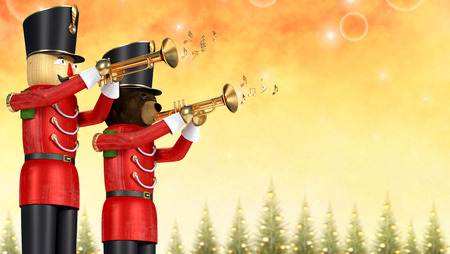 Conceptual illustration of two toy soldiers playing trumpets. Wooden soldier and teddybear soldier against festive winter background with decorative out of focus pine trees.