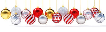Close up panoramic banner of multiple metallic christmas balls.Decorative gold, silver and red balls hanging in row.