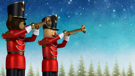 Conceptual fun illustration of two toy soldiers playing trumpets. Teddybear soldier and wooden soldier against festive winter background with decorative pine trees.