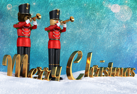Fun 3D illustration of two toy soldiers in red uniform playing trumpets. Teddybear soldier and wooden soldier standing together in snow announcing christmas. Big merry christmas golden 3D text on snow.