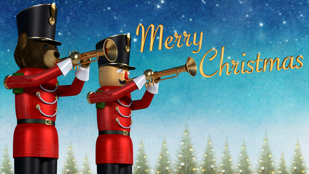 Fun 3D illustration of two toy soldiers in red uniform playing trumpets. Teddybear soldier and wooden soldier announcing christmas against winter background.Golden 3D merry christmas text.