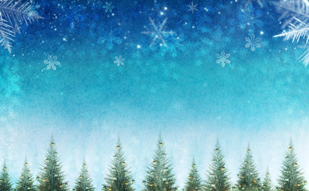Conceptual abstract christmas background with row of decorative pine trees.Sky filled with snowflakes and stars.