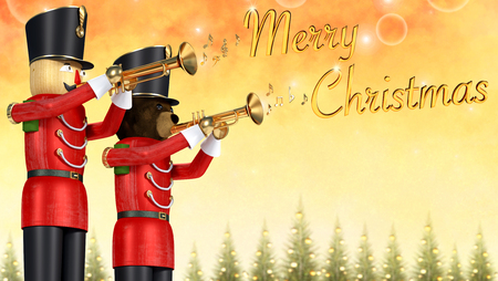 Fun 3D illustration of two toy soldiers in red uniform playing trumpets. Teddybear soldier and wooden soldier announcing christmas against colourful background with decorative pine trees. Golden 3D musical notes coming from trumpets with merry christmas text.
