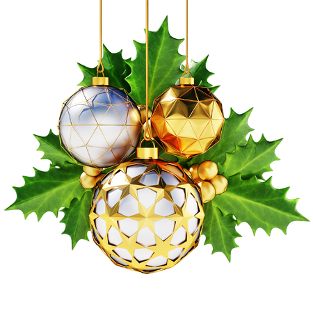 Set of decorative metallic christmas balls with winter cherry leaves isolated on white background.