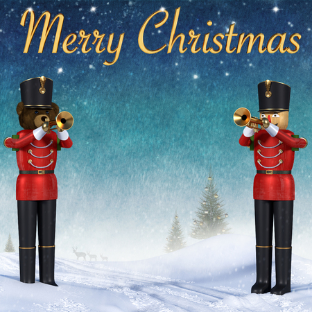 Close up 3D illustration of two toy soldiers playing trumpets. Teddybear soldier and wooden soldier standing in snow announcing christmas. Decorative pine trees and reindeers in background with golden 3D merry christmas text.