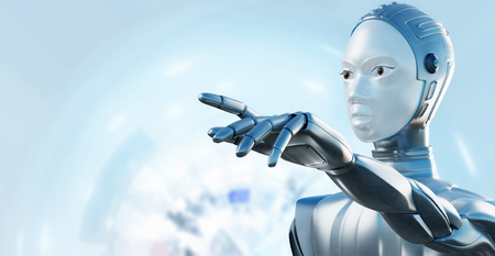 Close up portrait of female robot with crome helmet pointing with finger against light blue background. Zdjęcie Seryjne