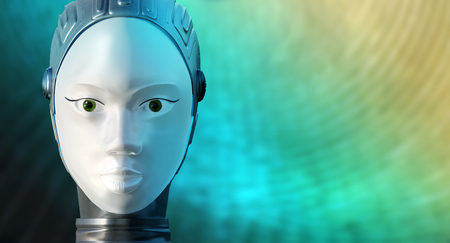 Close up face shot of female robot with chrome helmet  against green and yellow background. Zdjęcie Seryjne