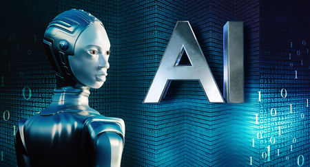 Conceptual close up portrait of female robot in chrome suit. Side view of robot against technological big data background. Artificial intelligence block letters on buildings. Zdjęcie Seryjne