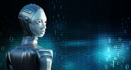 Conceptual close up portrait of female robot in chrome suit. Side view of robot against technological big data background.