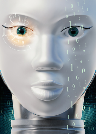 Macro close up face shot of female robot looking at camera. Conceptual light beam shining from eye with big data numbers in background.